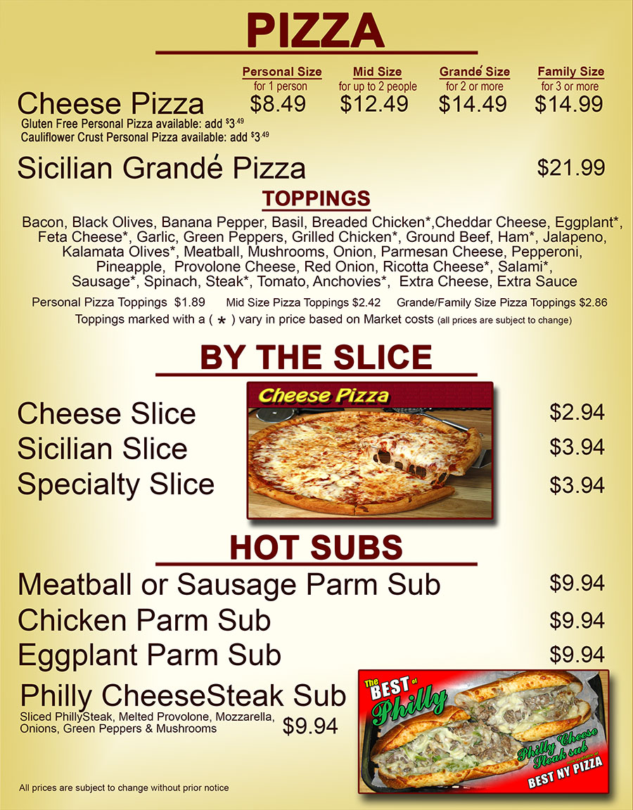 Pizza, Slice and Subs Menu
