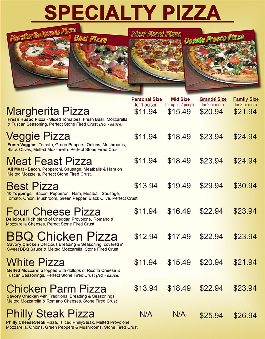 Specialty Pizza Menu