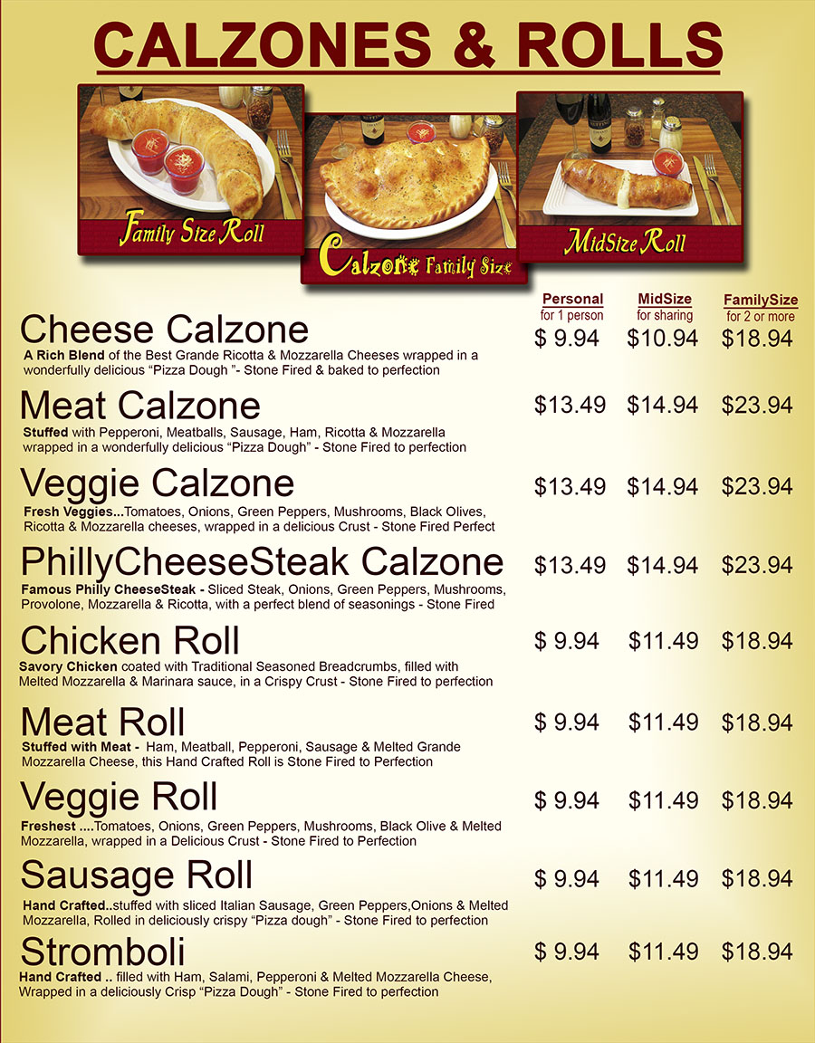 Calzone and Roll Menu